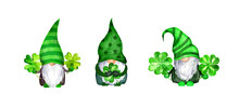 Set Of St Patrick Day Gnomes In Striped And Decorated Hats With Four Leaves Clovers - Luck Symbols. Watercolor Green Scandinavian Dwarfs Collection, Bundle In Celtic, Irish Style