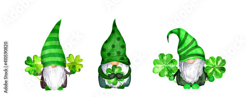 Fotografia, Obraz Set of St Patrick day gnomes in striped and decorated hats with four leaves clovers - luck symbols