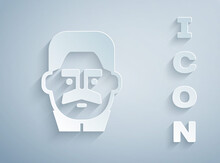 Paper Cut Portrait Of Joseph Stalin Icon Isolated On Grey Background. Paper Art Style. Vector.