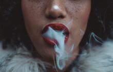 Woman Smoking, Close Up On Smoke And Mouth