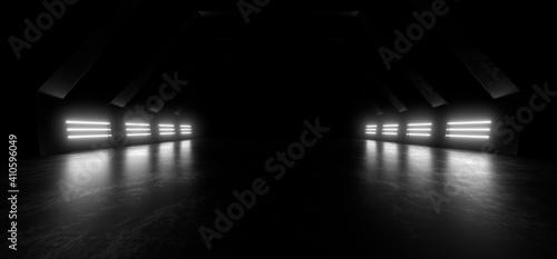 Fotografia, Obraz A dark corridor lit by white neon lights