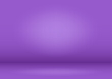 Lilac Studio Background. A Lilac Stage With A Floodlight. Light Source On The Wall And Platform. Vector Illustration