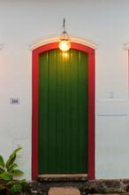 Vertical Closeup Of The Room 208 Door With Lights