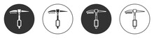 Black Ice Axe Icon Isolated On White Background. Montain Climbing Equipment. Circle Button. Vector.