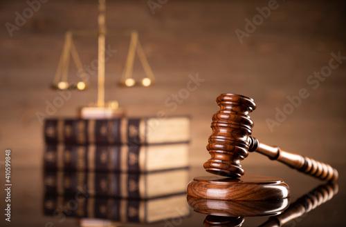 Fotografie, Obraz Law symbols composition on brown background