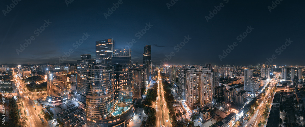 Fototapeta City night view of Huizhou City, Guangdong Province, China