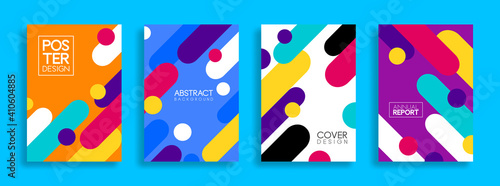 Obraz Set of cover and poster design template. Trendy abstract colorful geometric shape for banners, business promotion, event, poster, flyer and page layout design. Eps 10 Vector - fototapety do salonu