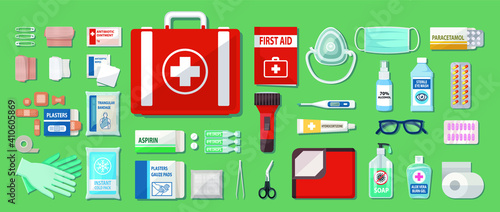 Canvas Print Complete First Aid Kit Set Box vector illustration.
