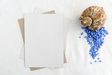 Fashionable Stock Stationery Background - White Map And Seashells On A White Table. Romantic Background. Blank For An Invitation Card.