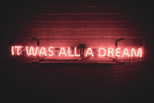Brick Wall With It Was All A Dream Neon Sign