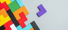 Geometric Shape Block With Colorful Wood Puzzle Piece Background. Logical Thinking, Business Logic, Conundrum, Decision, Solutions, Rational, Mission, Success, Goals And Strategy Concepts