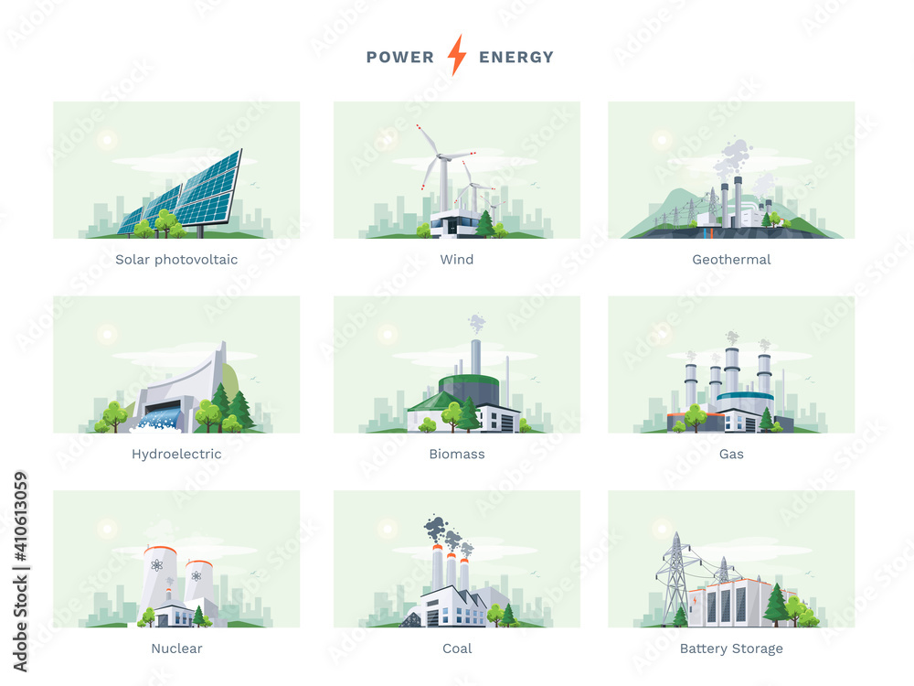 Fototapeta Electricity generation source types. Energy mix solar, water, fossil, wind, nuclear, coal, gas, biomass, geothermal and battery storage. Natural renewable pollution power plants station resources.