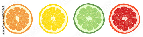 Canvastavla Set of citrus slices of lime, orange, grapefruit and lemon