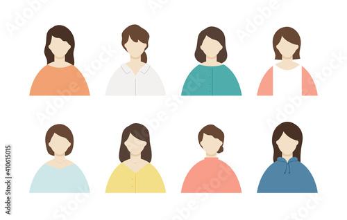 Fototapeta 女性のアイコンのセット/シンプル/バリエーション/20代/30代/女/上半身/バリエーション obraz