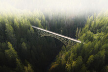 Landscape Photo With Bridge And Forest