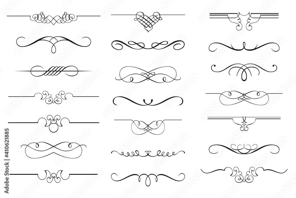 Fototapeta Vector set of calligraphic design elements and page decor. Vintage and filigree decoration set. Filigree divider wedding Invitation.