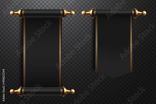 Fototapeta 3d realistic scrolls illustration on transparent background obraz