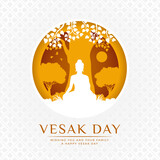 Vesak day banner - white and Yellow The lord buddha Meditate under bodhi tree in circle layer style on white flower texture background vector design