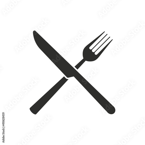 Obraz Monochrome cutlery set of crossed fork and knife. Restaurant icon. - fototapety do salonu