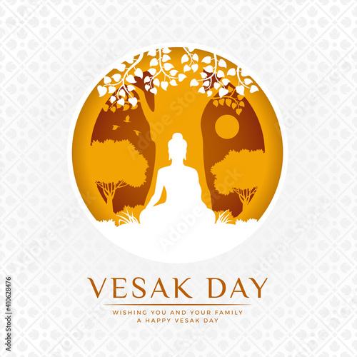 Slika na platnu Vesak day banner - white and Yellow The lord buddha Meditate under bodhi tree in