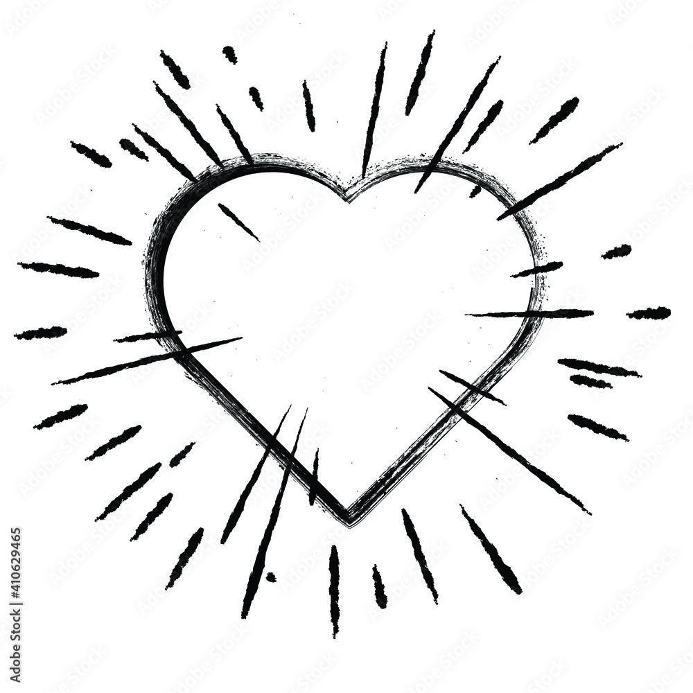 Fototapeta Heart Shapes and burst for your design.  Valentine's Day signs. Vector illustration.