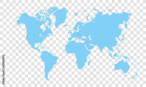 Obraz blue world map - vector illustration of earth map on transparent background - fototapety do salonu