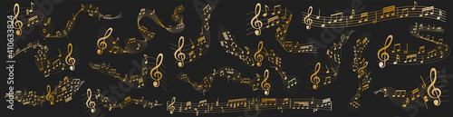 Fotografering vector sheet music - gold musical notes melody on dark background