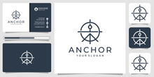 Line Art Anchor Logo Design With Concept Target Logo Design. Unique Symbol Anchor ,icon For Business Company And Business Card Vector Template. Premium Vector