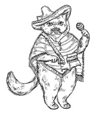 Cat Holding A Maraca And Dressed In The Poncho, Sombrero.