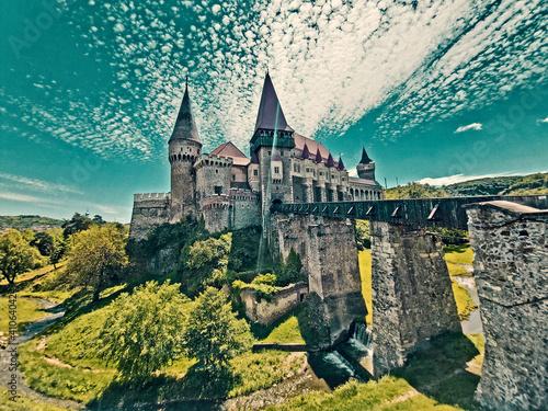 Beautiful castle located in Romania, Europe. Corvin Castle, also known as Hunyadi Castle