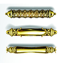 Gold Door Handles In Baroque Style, Classic Ornate Luxurious Oriental Column Knobs Isolated On Transparent Background. Vintage Golden Doorknobs, Yellow Metal Jewelry Home Decor,