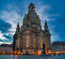 Frauenkirche Church And Martin Luther Monument In Dresden