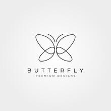 Butterfly Line Art Logo Vector Symbol Minimal Illustration Design