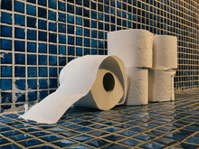 Five Rolls Of Toilet Paper On The Floor Of A Toilet With Blue Tiles Seen From The Side