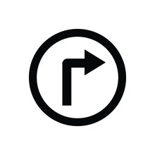 Road Sign Black Turn Right Vector Icon