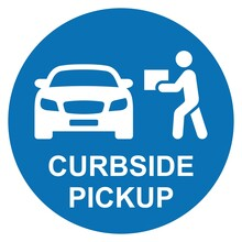 Curbside Pickup Icon. Order Pickup. Blue Round Sign. Vector Icon Isolated On White Background.