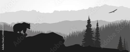 Obraz na plátně Paysage de montagne avec ours