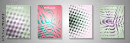 Obraz Futuristic dot perforated halftone front page templates vector series. Corporate booklet faded - fototapety do salonu