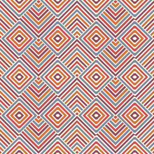 Wicker Seamless Pattern With Geometric Ornament. Vivid Colors Background With Overlapping Stripes. Fish Scale Motif.