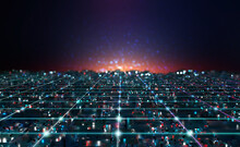 Cyberpunk Digital City. Global Cyberspace. 3D Illustration Of Wireless Internet Technologies. Database Protection And Secure Transmission Of Information On Blockchain Network