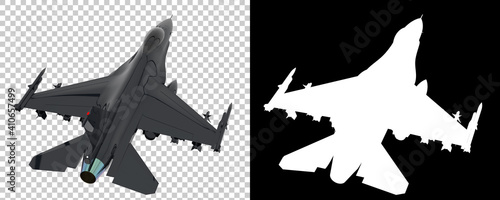 Photo Jet fighter isolated on background with mask