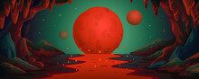 Mars - Vector Cartoon Background. Marsian Cave Landscape With An Underground Lava River And Red Planets. Vector Illustration In Flat Cartoon Style.