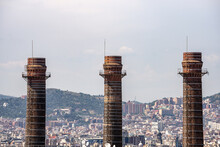 Closeup Of A Three Chimneys Of An Abandoned Power Plant In Barcelona, Catalonia, Spain, Europe.