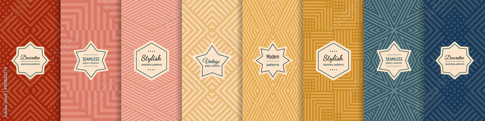 Fototapeta Vector geometric seamless patterns collection. Set of stylish pastel backgrounds with elegant minimal labels. Abstract modern textures with lines, stripes. Trendy colors. Repeated designs templates - obraz na płótnie
