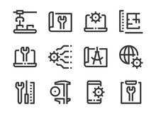 Engineering, Industry Production And Technology Process Vector Line Icons.