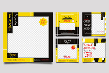 Fast Food Promo Square Banner Templates With Yellow And Black Background.