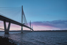 A View Of A Large Three-tower Cable-stayed Bridge At Sunrise. Queensferry Crossing Bridge, Scotland, United Kingdom