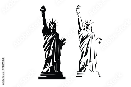 Tablou Canvas New York Statue of Liberty Vector silhouette