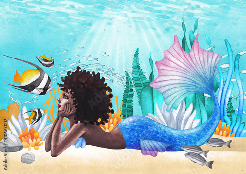 Fototapeta Watercolor african mermaid lies at the ocean sandy bottom among the coral reef plants and fish obraz