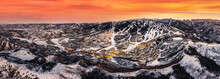 Snowmass Village With Sunset And Ski Slopes